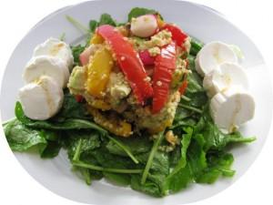 Salade raapstelen paprika met geitenkaas